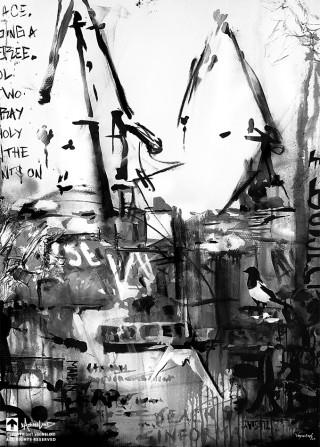 City harbour painting by swedish artist VAGNELIND