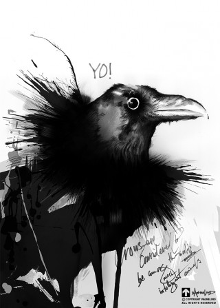 vagnelind art ink painting of a crow see you