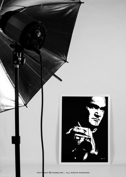 portrait of quentin tarantino made by swedish artist VAGNELIND