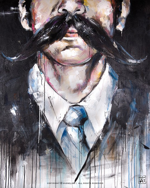 portrait of a man with mustache made by swedish artist VAGNELIND