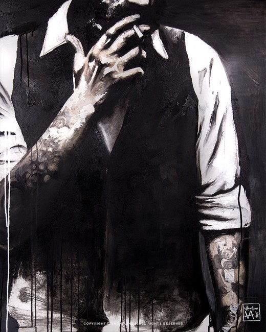 portrait of a smoking man made by swedish artist VAGNELIND