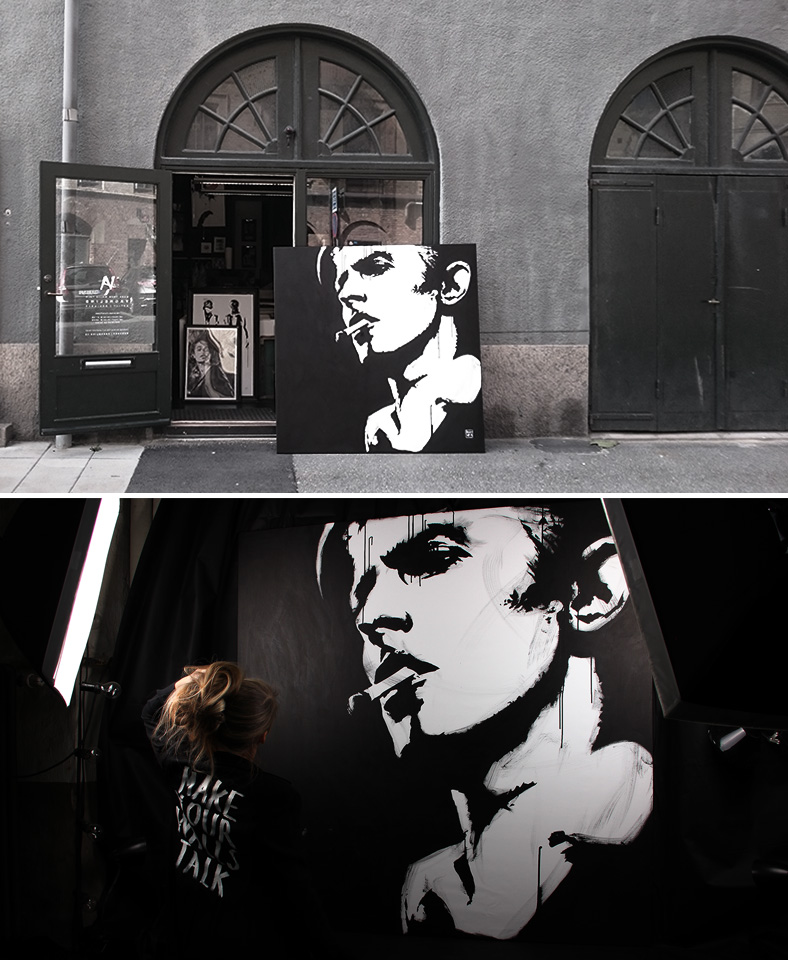 Portrait of David Bowie made by swedish artist VAGNELIND