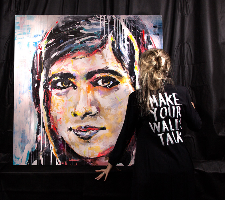 Portrait of Malala Yousafzai painted upside down by swedish artist VAGNELIND