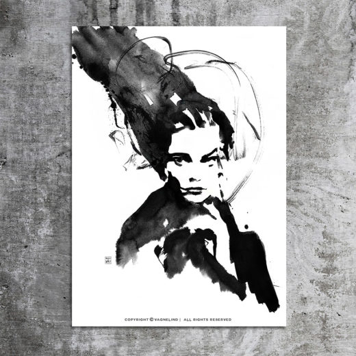 vagnelind art ink painting study of a women - sister