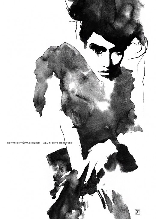 vagnelind art ink painting study of a women - joaillerie