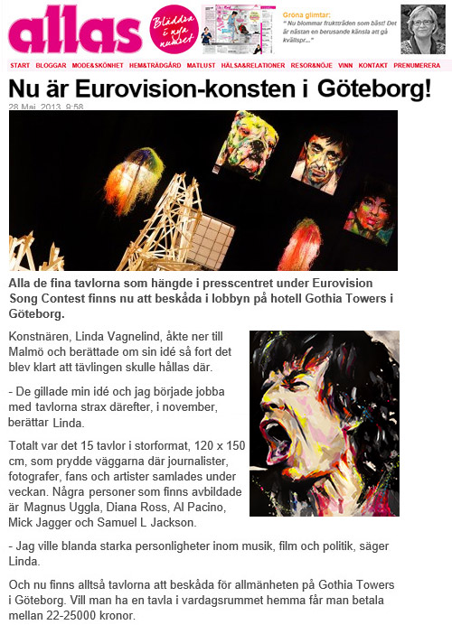 VAGNELIND art exhibition at Eurovision song contest featured in ALLAS