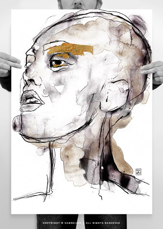 vagnelind art ink painting study of a women portrait - micro