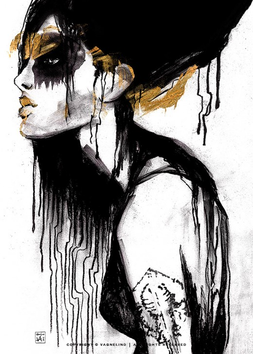 vagnelind art charcoal portrait - random