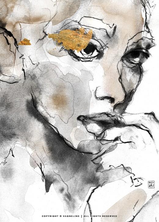 vagnelind art ink painting study of a women portrait - bloodstream