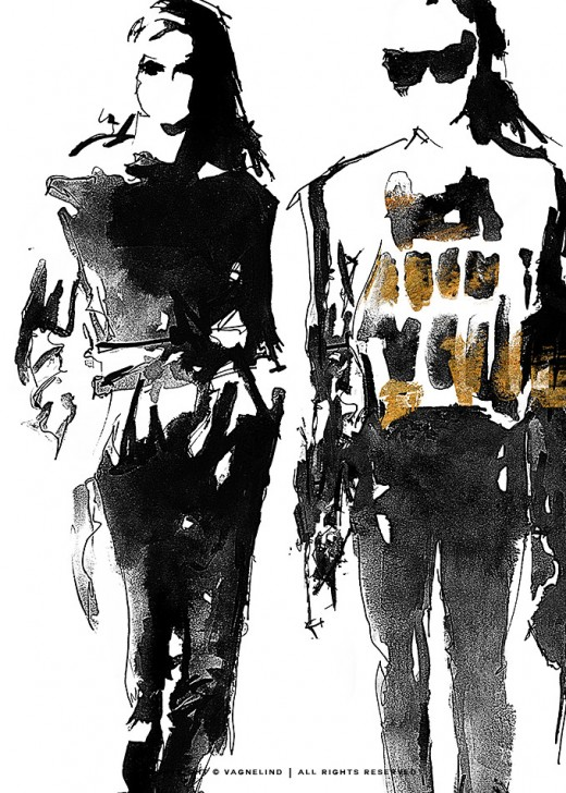 vagnelind art ink fashion drawing - runway two
