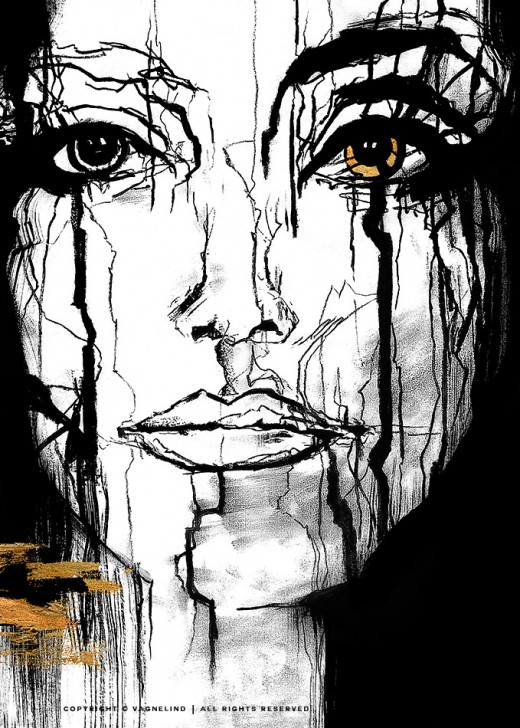 vagnelind art ink portrait women gold - intel