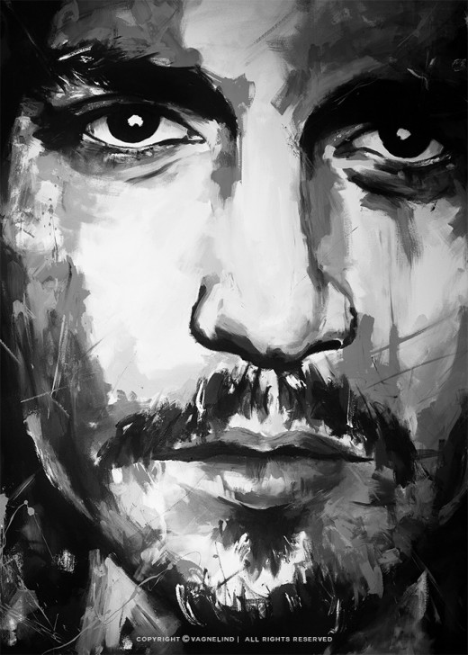 portrait of johnny depp made by swedish artist VAGNELIND