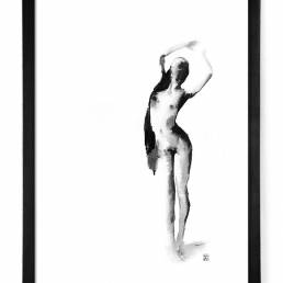 vagnelind art ink painting of a naked standing women