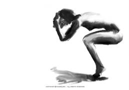 vagnelind art ink painting of a naked sitting women - spectra