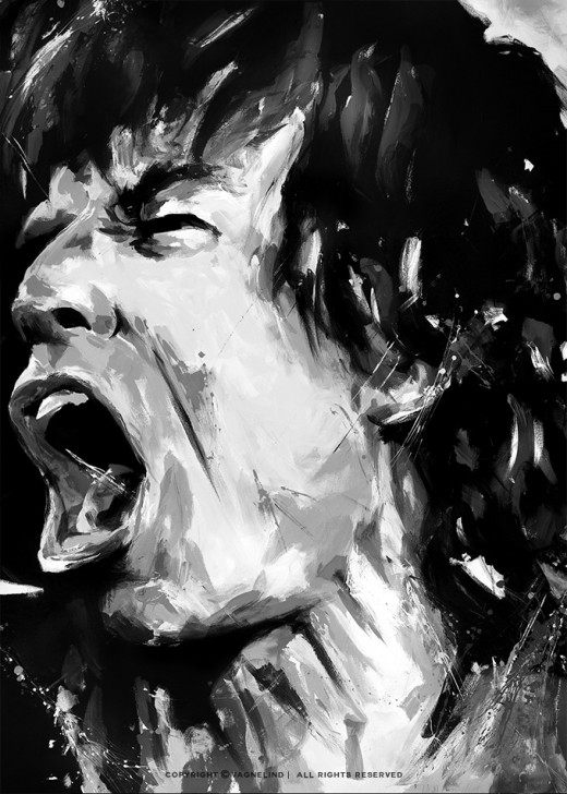 portrait of mick jagger made by swedish artist VAGNELIND