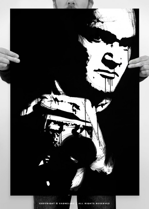 portrait of quentin tarantino painted by the sweidsh artist vagnelind