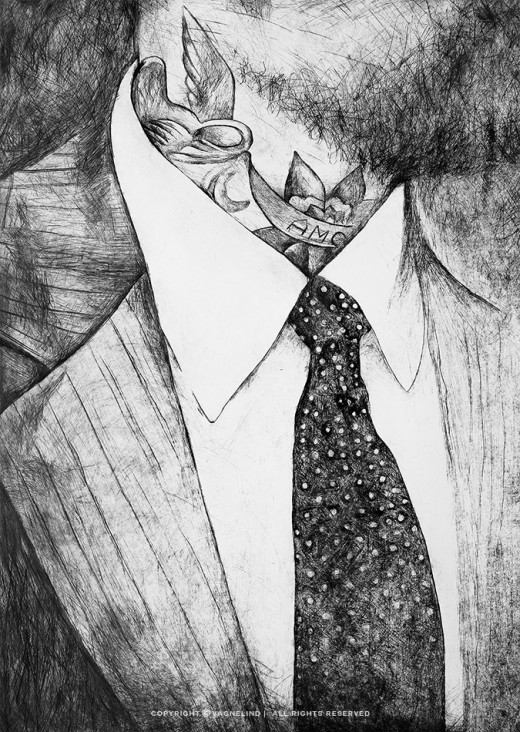 Drypoint engraving portrait of a dressed man with tie and tattoes made by swedish artist VAGNELIND