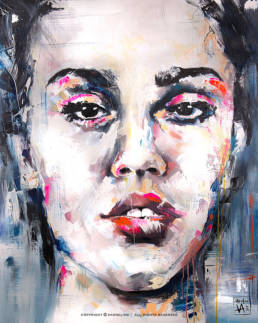 colorful portrait of a women made by swedish artist VAGNELIND