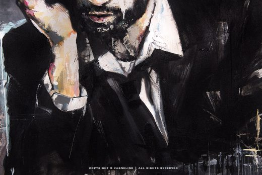portrait of a man in suit made by swedish artist VAGNELIND