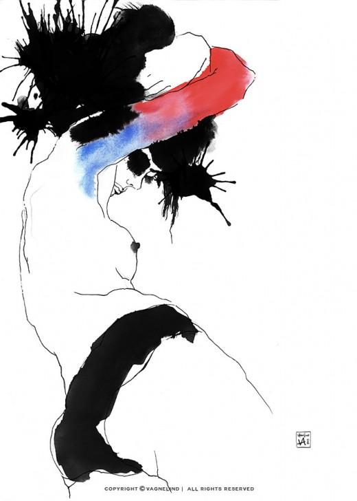 vagnelind art ink painting study of a naked women - language