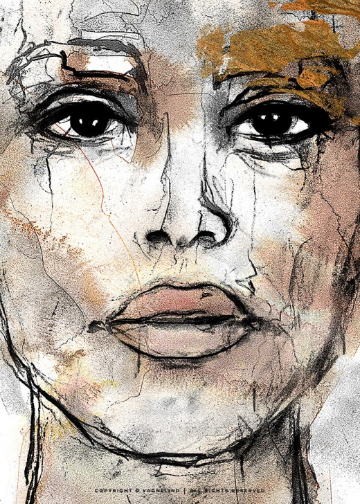 vagnelind art ink portrait gold women - guardian