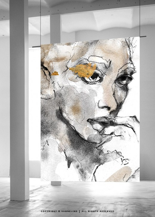 vagnelind portrait of a women printed on large format wallhanging - Bloodstream
