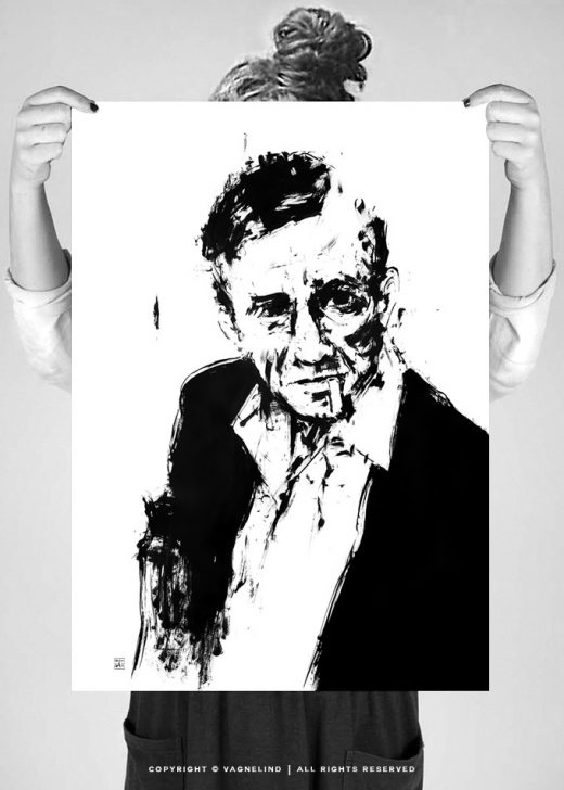 original painting portrait of johnny cash made by swedish artist VAGNELIND