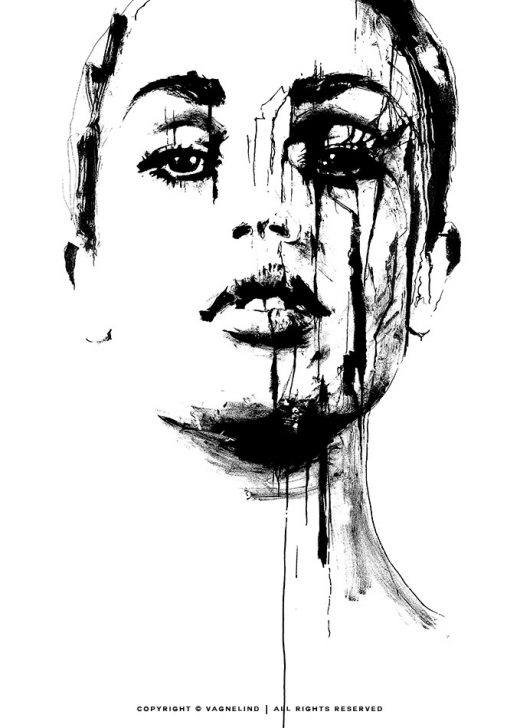 black and white art made by swedish artist VAGNELIND - TRUTH