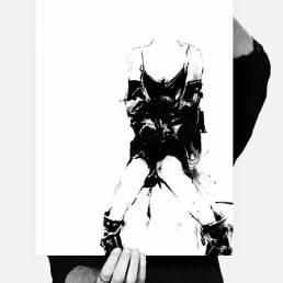 black and white art made by swedish artist VAGNELIND - SOMETHING