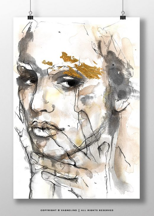 vagnelind art ink portrait gold women - THOUGHT
