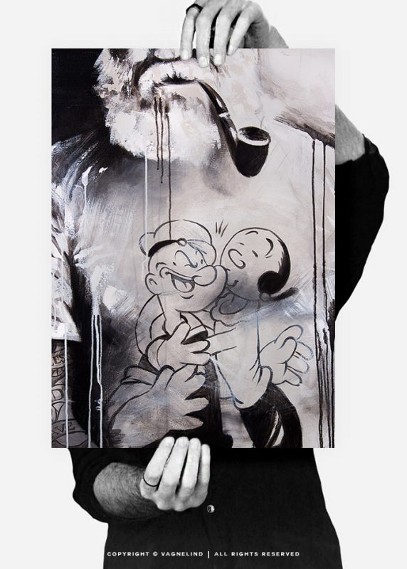 vagnelind ink drawing - Embellished limited fine art print POPEYE