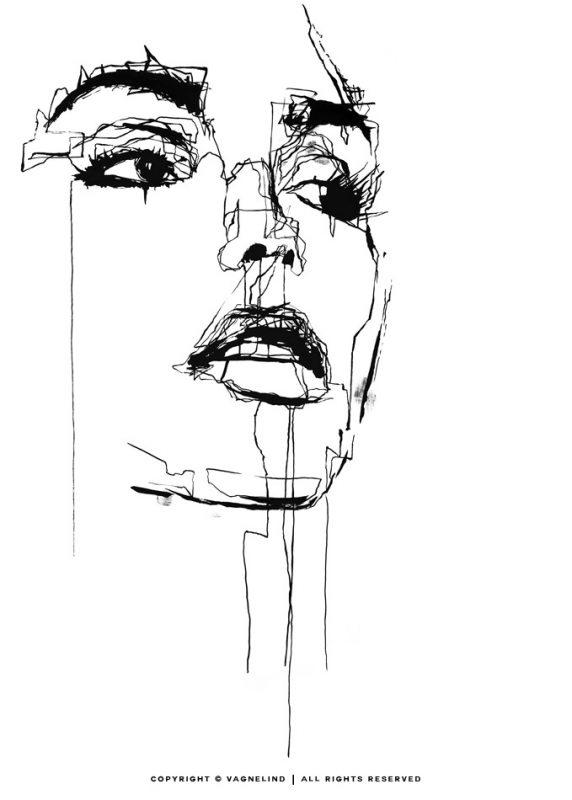 vagnelind ink drawing - Embellished limited fine art print LINE