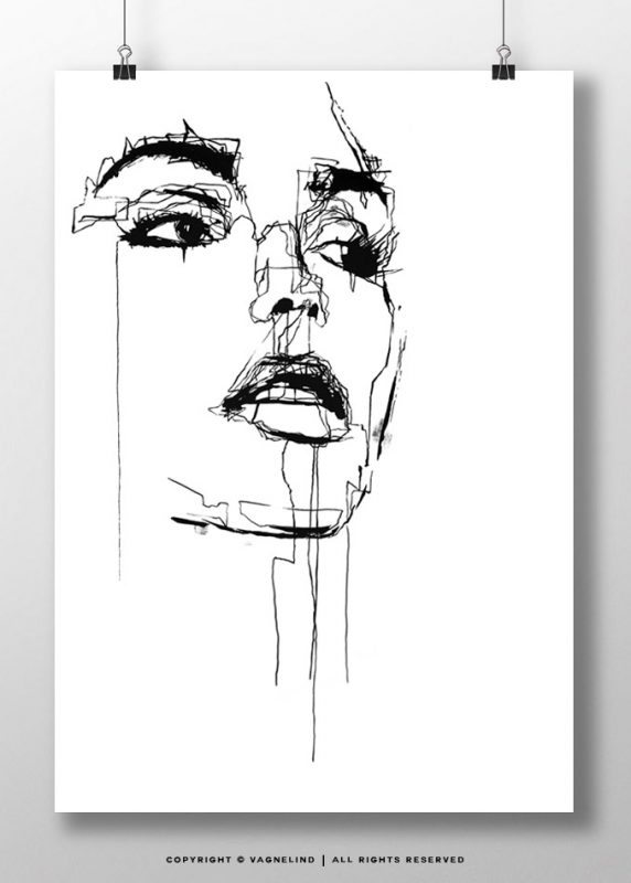 vagnelind ink drawing - Embellished limited fine art print LINE
