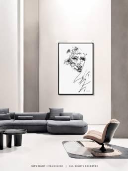 VAGNELIND Art print - Line Bozetto - Amber